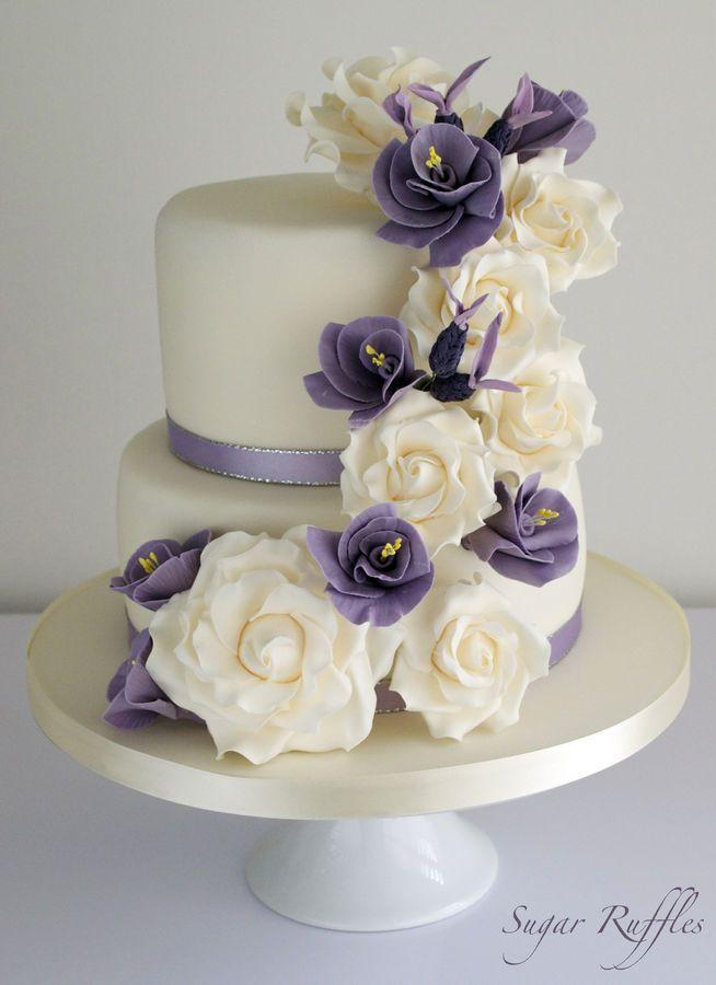 Purple Floral Cascade Wedding Cake Round Wedding Cakes 2510753
