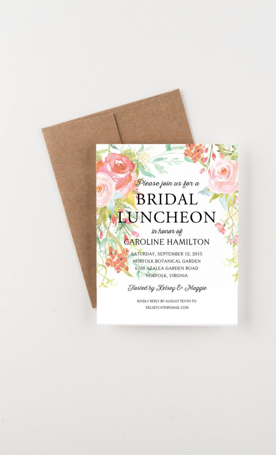 Bohemian Floral Bridal Luncheon Invitation Bridal Shower Or Party