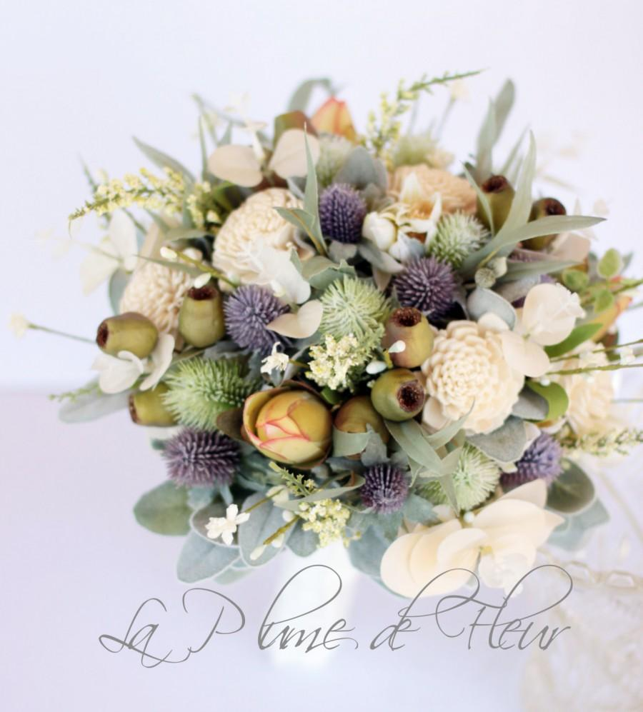 Mariage - Rustic wedding bouquet, cottage chic bouquet.  Bride's bouquet of thistle, sola flowers, wildflowers, gumnuts and Australian native foliage.