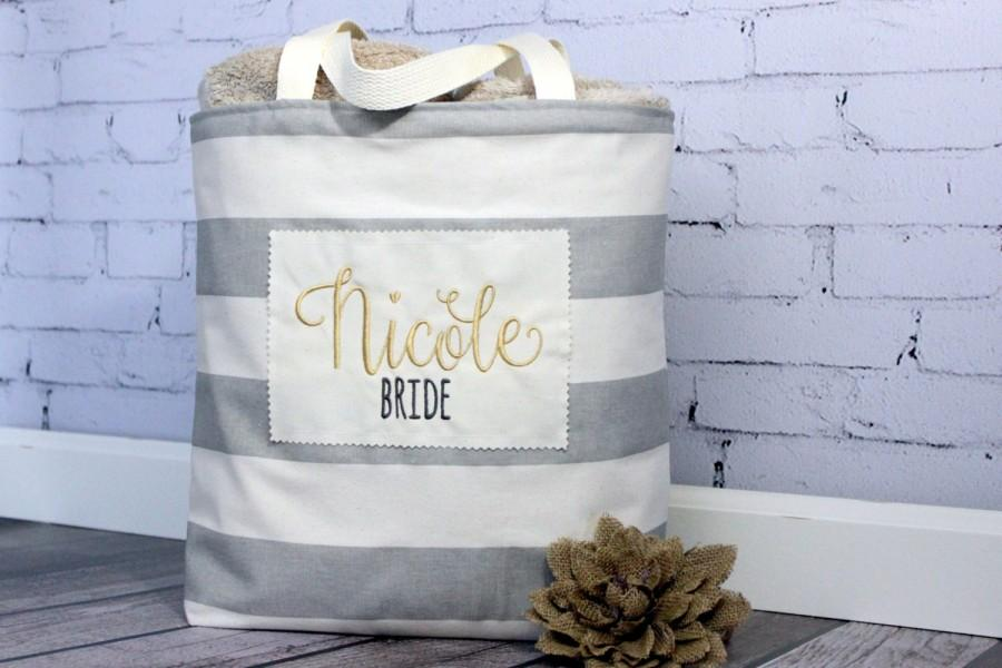 bride bridesmaid tote bag grey stripe personalized name and title wedding bride bridal shower party purse beach gift goodie bag