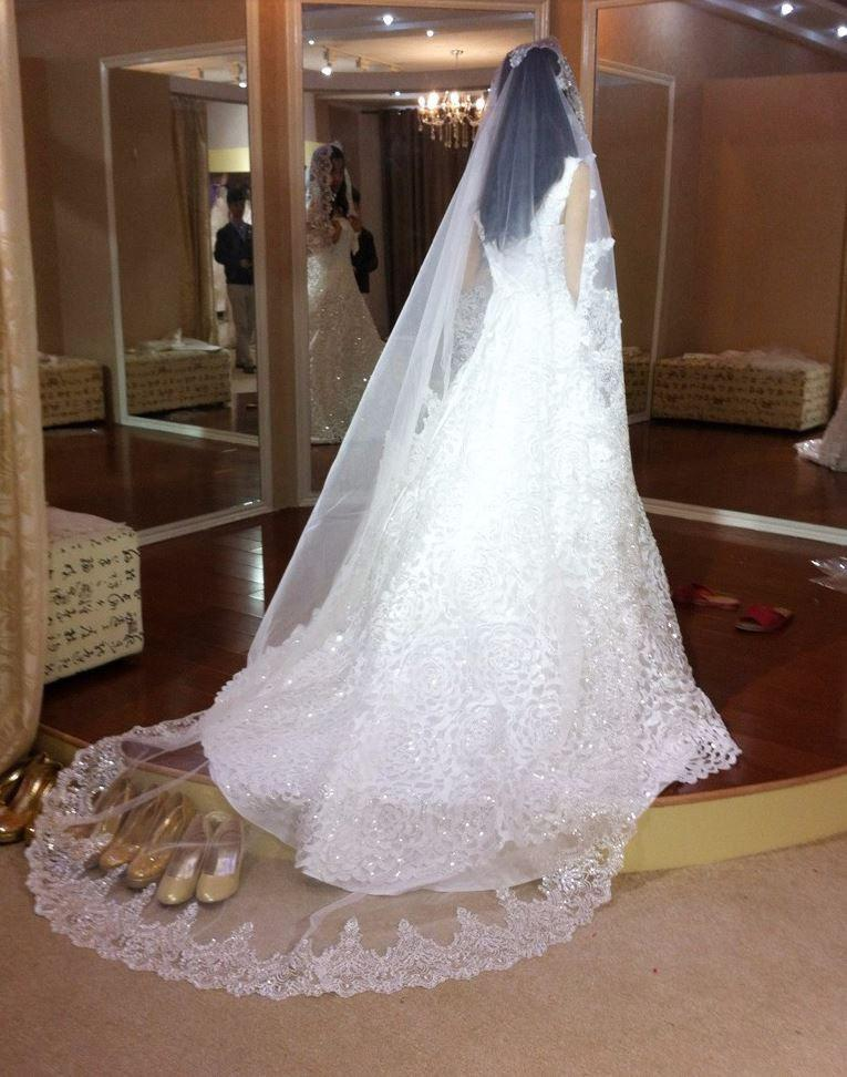 Mariage - Cathedral alencon lace with silver sequins wedding veil, diamond white, 9 feet long, elegant, vintage