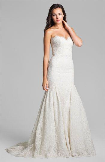 Mariage - Theia Strapless Embroidered Lace Trumpet Gown