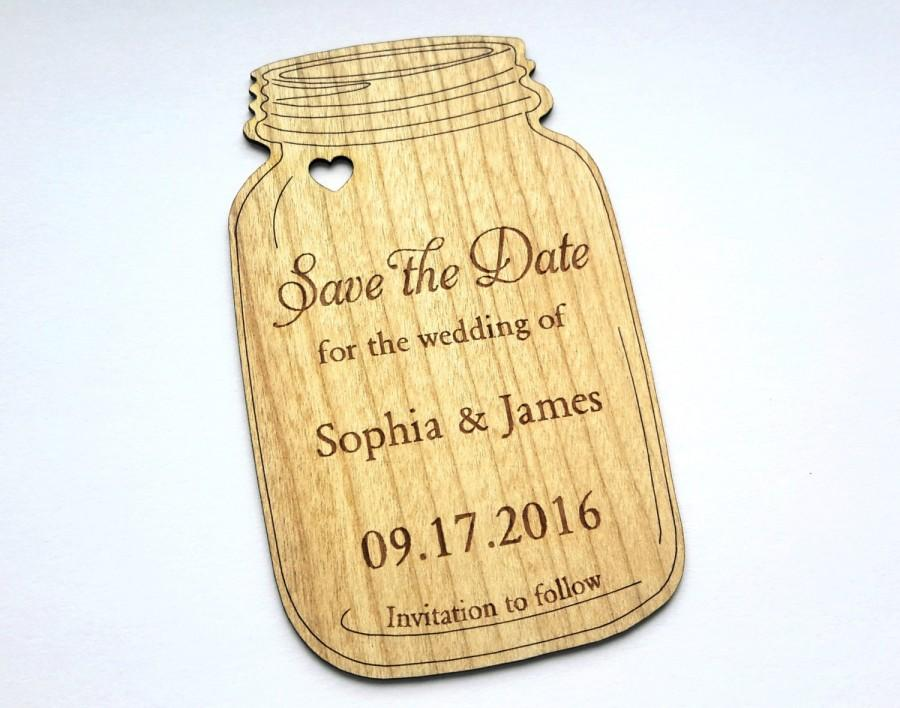 Hochzeit - Mason jar wood card, Wooden Save the Date card, Rustic Save the Date, Wedding Save the Date, Wood Personalize, Wood Labels, Rustic party