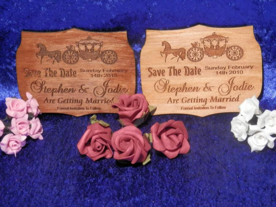 Mariage - Save The Date Card - Laser Engraved & Cut - Vary In Size But Approx 80mm x 100mm Option 1
