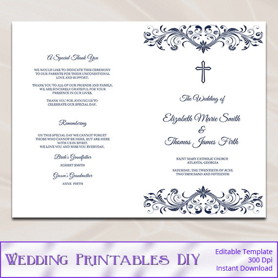 Catholic wedding program template diy navy blue cross for Free templates for church programs