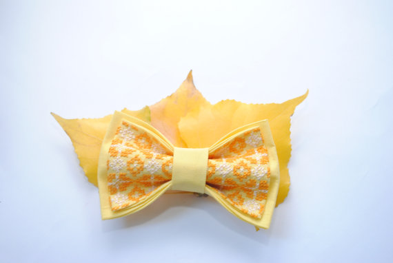 Wedding - Yellow bow tie Embroidered bowties Bowtie for men Greate to coordinate with bridesmaid dress in Gold Daffodil Lemon Marygold Gift ideas him
