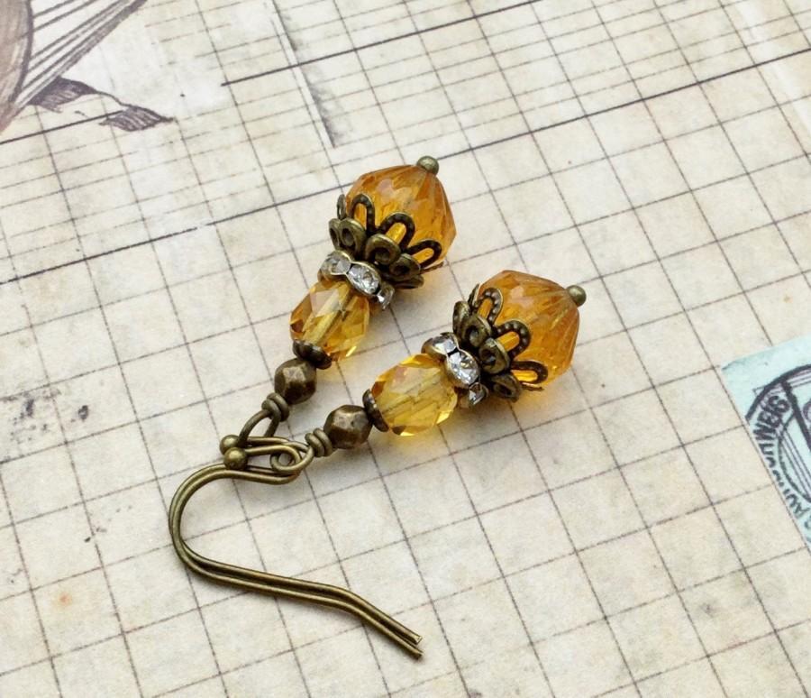 زفاف - Victorian Earrings, Topaz Earrings, Gold Earrings, Yellow Earrings, Crystal Earrings, Bridal Earrings, Czech Glass Beads, Womens Earrings
