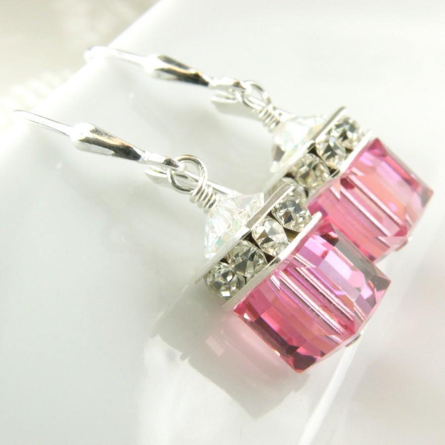 Pink Earrings Rose Crystal Swarovski Cube Sterling Silver Drop