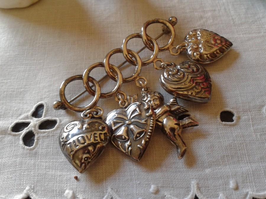 زفاف - Sterling puffy 2 sided heart charm angel brooch Peaky Blinders Penny Dreadful vintage Graduation wedding anniversary birthday jewelry gift
