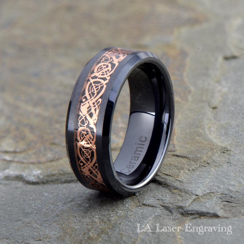 Wedding - Ceramic Wedding Band, Rose Gold Ceramic, Beveled Edges, Anniversary Ring, Engagement Ring, Celtic Knot, Dragon Ring, Engagement Ring
