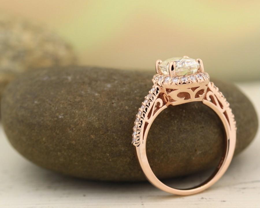 Wedding - 9x7mm Forever Brilliant Moissanite  14K Rose Gold Diamond engagement  Halo Ring - antique Style - Gem748