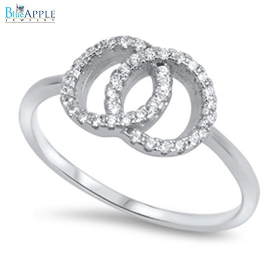 Wedding - Double Interlocked Round Ring Solid Sterling Silver Round White Clear CZ  Interlocking Engagement Ring Valentines Gift