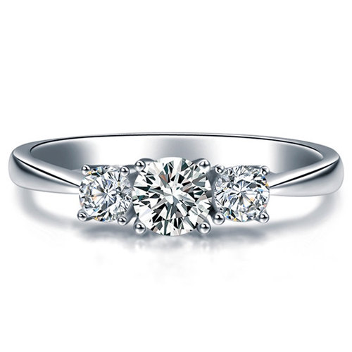 زفاف - Round Shape  Diamond Engagement Ring 950 Platinum Setting Art Deco Diamond Ring