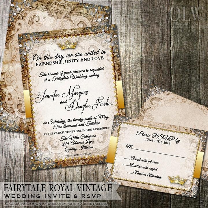 Mariage - Vintage Fairytale Royal Wedding Invitation and RSVP Card