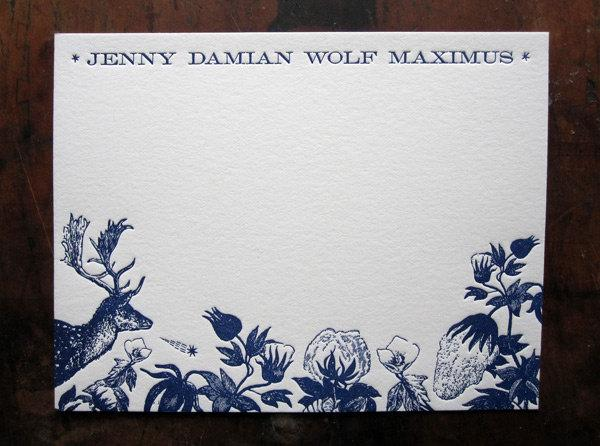 Mariage - Letterpress Custom Design Thank You Card & Birth Announcement Suite