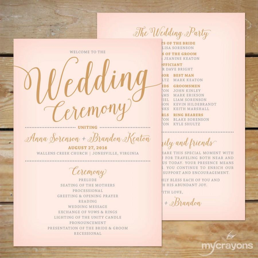 Blush Pink And Gold Wedding Program Fan Printable Paddle Modern Calligraphy Programs