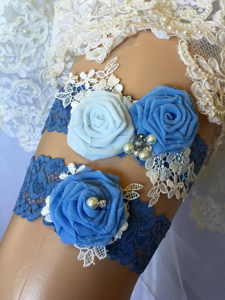 Something Blue Garter Set Garter Wedding GarterWedding Garter Set Bridal Garter Blue