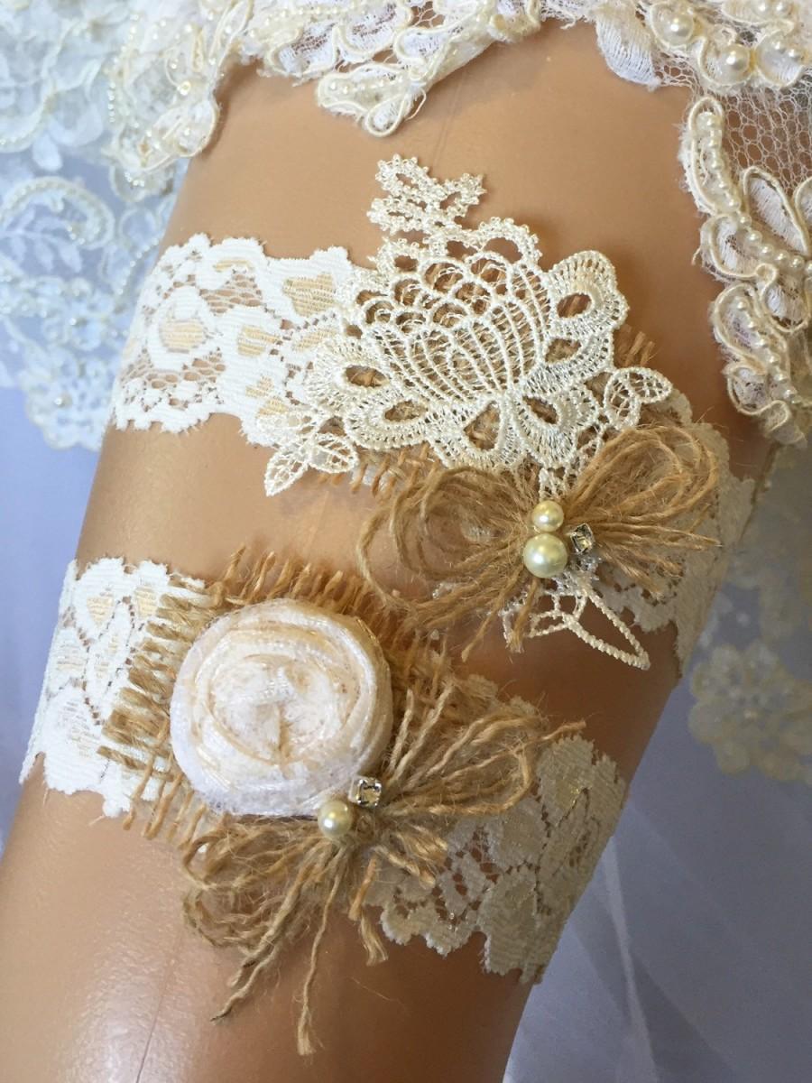 Wedding - Burlap Wedding Garter /Wedding Garter Set// Burlap Garter/ Garter / Burlap/ Lace Garter/ Ivory Garter/ Wedding/ Rustic Wedding