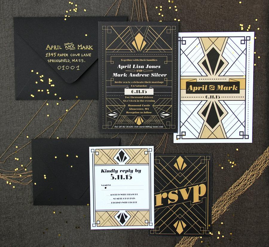 Mariage - Art Deco Wedding Invitation Sample