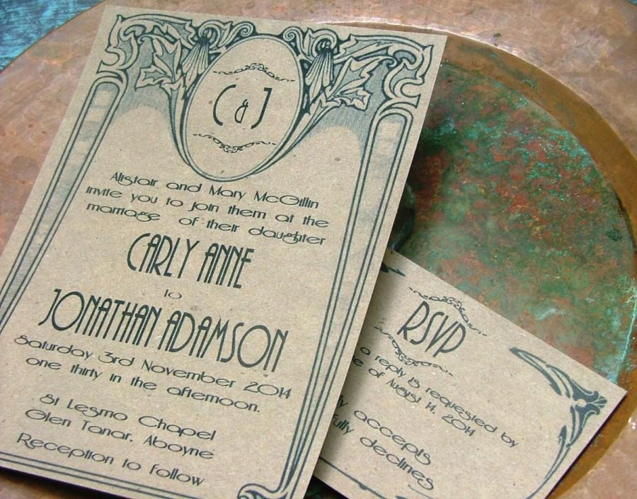 art deco wedding invitations art nouveau wedding invitations