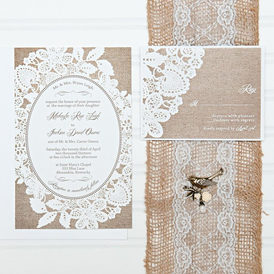 Wedding - Burlap and Lace Wedding Invitation Set, with RSVP cards and address labels, Budget Invites, 100 Sets