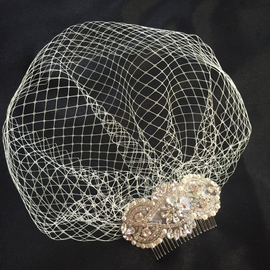 Свадьба - Vintage  Crystal Birdcage Veil and Comb , Bridal Comb ,Crystal Veil and ivory pearls ivory veil with pearls bride head piece bridal comb