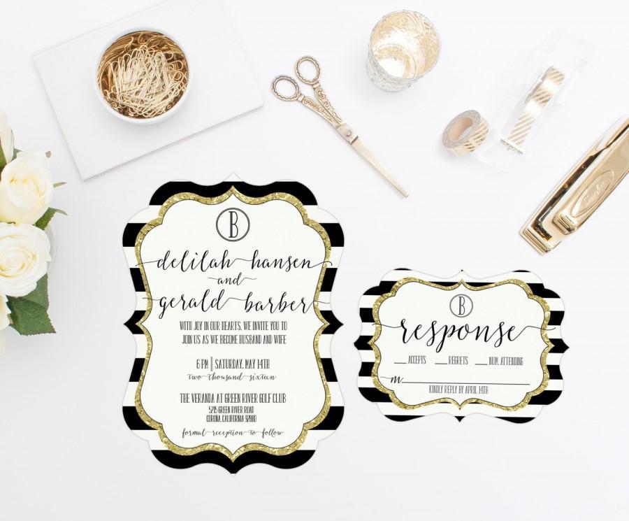 black and white stripes wedding invitation rsvp gold glitter die cut digital or prints bridal shower rehearsal dinner