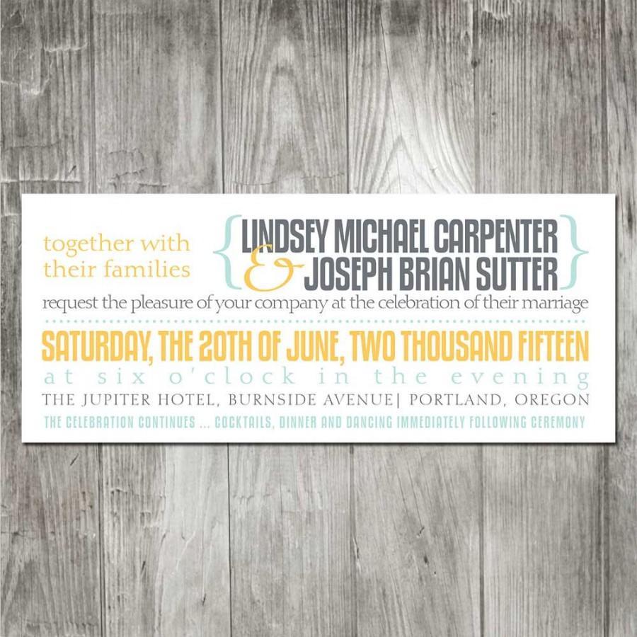 Modern Typography Wedding Invitation Set, Simple Typography Wedding ...