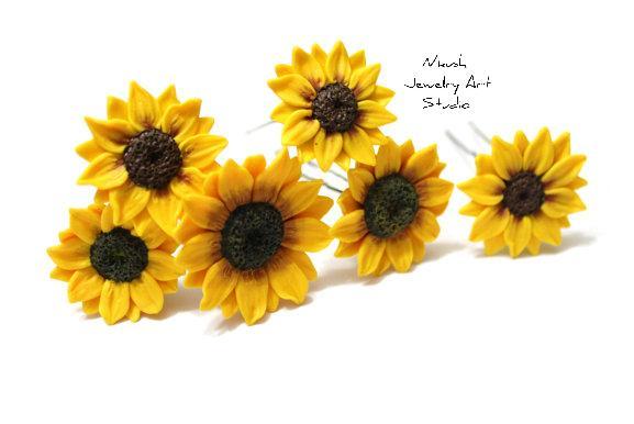 Hochzeit - Sunflowers hair pins by Nikush Studio