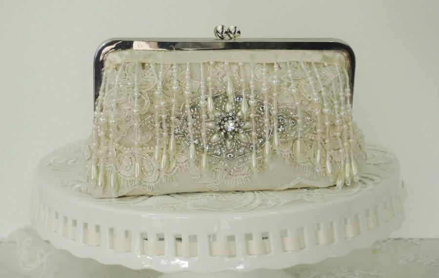 Свадьба - Ivory Wedding Clutch / Vintage Wedding /  Gatsby / 1920's / Bridal Handbag / Glam Wedding