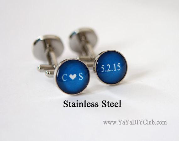 زفاف - Personalized Cufflinks Royal Blue Weddings Cuff Links Custom Color Initials heart Date  - Unique Groom Gift, Personalized Best Man Gift