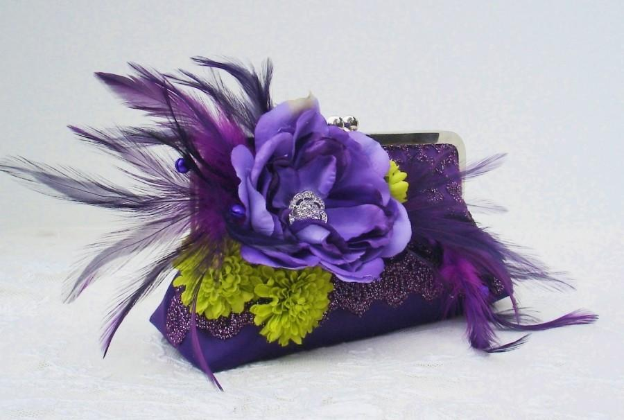 Свадьба - Purple Bridesmaid Clutches / Bridesmaid Gift / Peacock Wedding / Mother of the Bride / Garden Wedding / Peacock Wedding