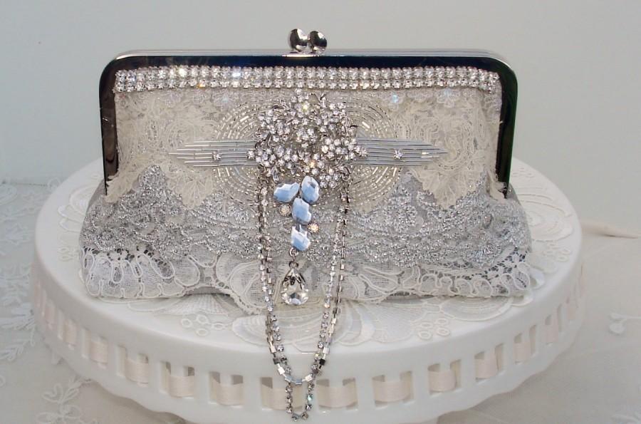 زفاف - Spring Wedding / Silver Clutch/ Gatsby / Downton Abbey / Elegant Wedding / Silver Wedding / Rhinestone Wedding Clutch