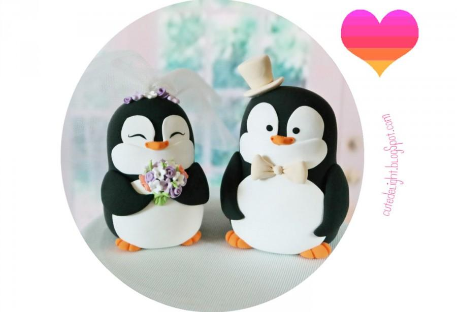 PENGUIN Wedding Cake Topper, Penguins Cake Topper,Penguin Bride And ...