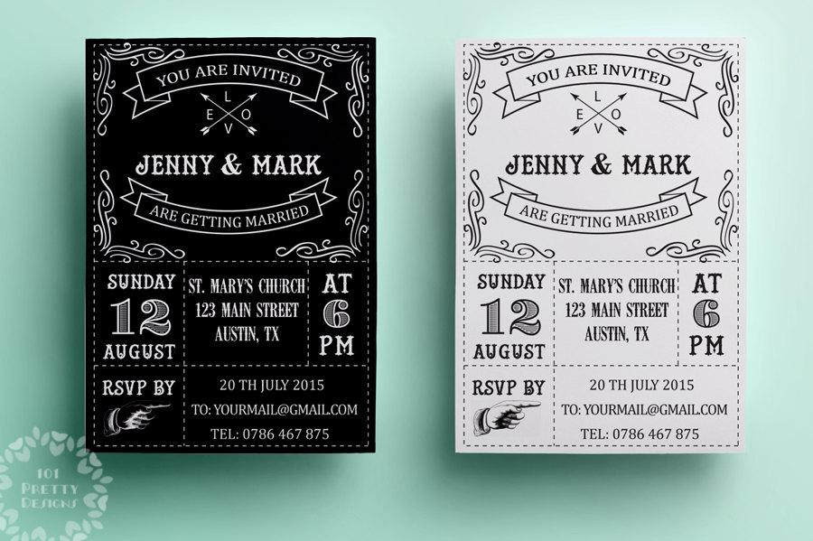 Retro Wedding Invitation Template Printable Design Black And White Vintage Invite Typographic Card