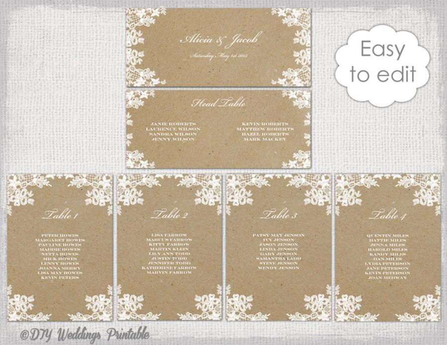 "Wedding - Seating chart template ""Rustic Lace"" printable seating chart cards DIY kraft wedding table plan YOU EDIT Word instant Download"