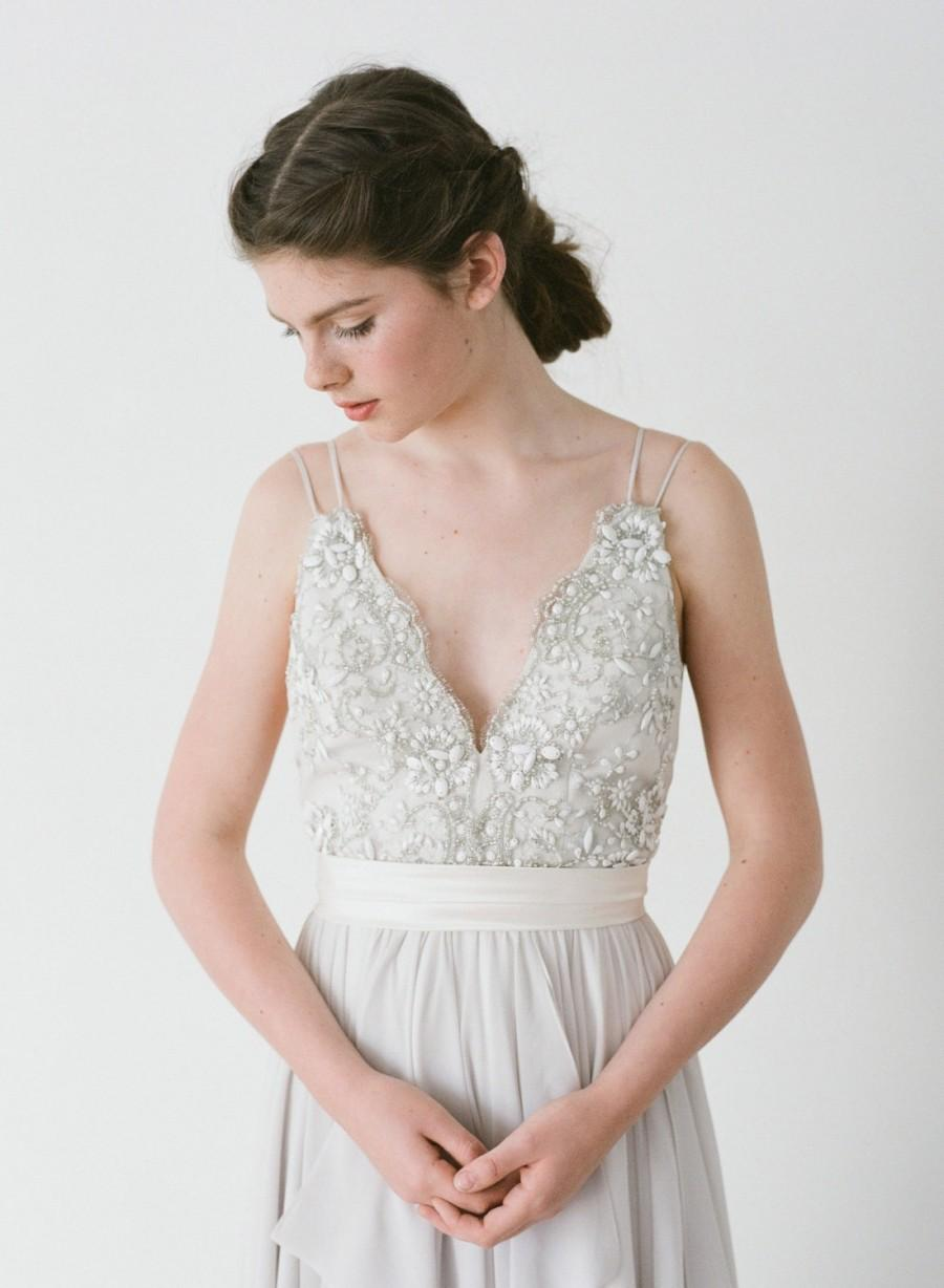 Wedding - Alexandra // A Dove Grey Gown With Hand Beaded Lace and Double Straps.
