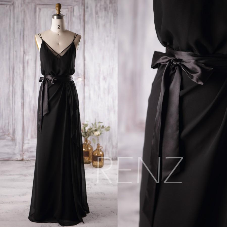 Свадьба - 2016 Black Chiffon Bridesmaid Dress, Spaghetti Strap Wedding Dress, V Neck Prom Dress with Belt, Long Evening Gown Floor Length (L133)
