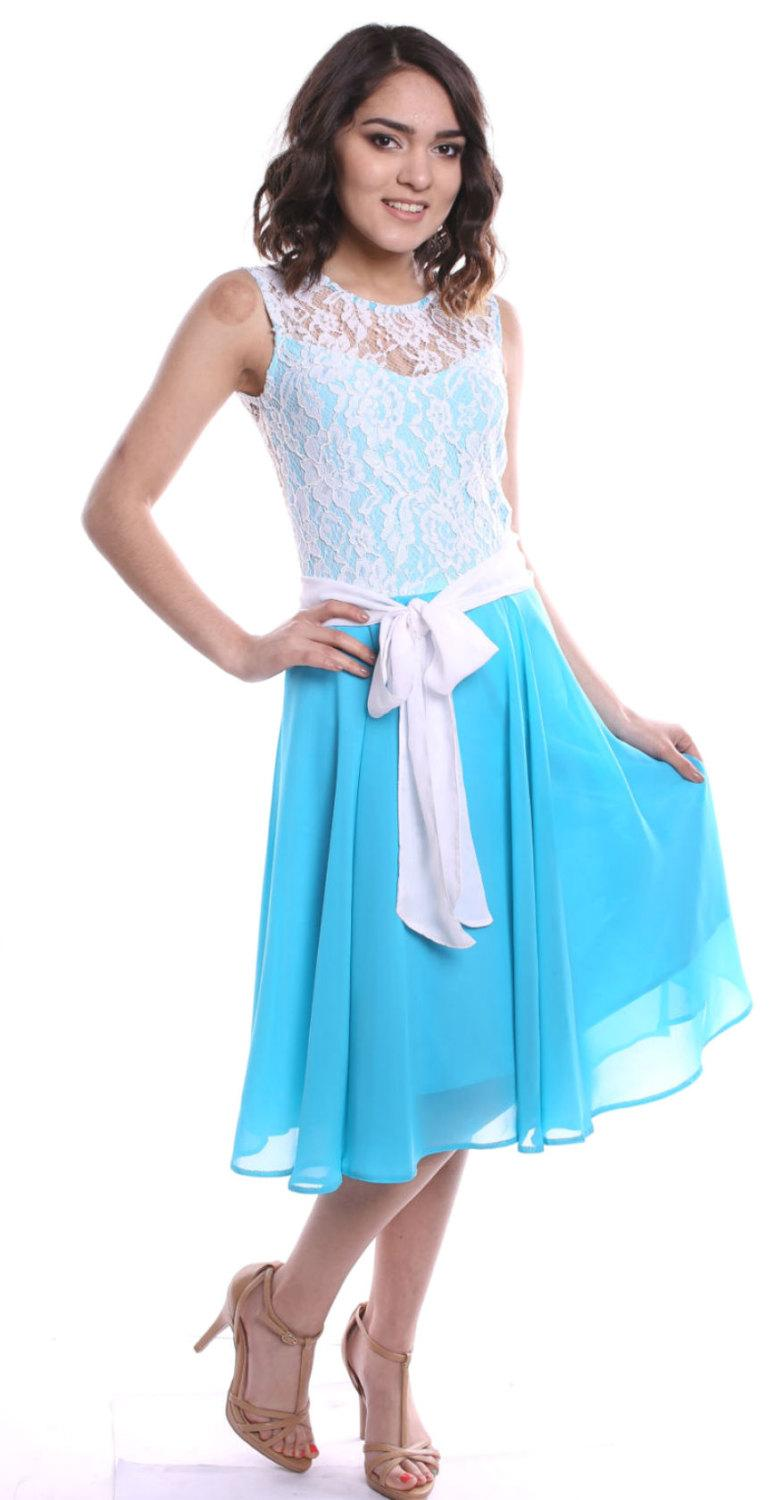 Turquoise Wedding Dress Chiffon Lace Floral Turquoise Bridesmaid ...