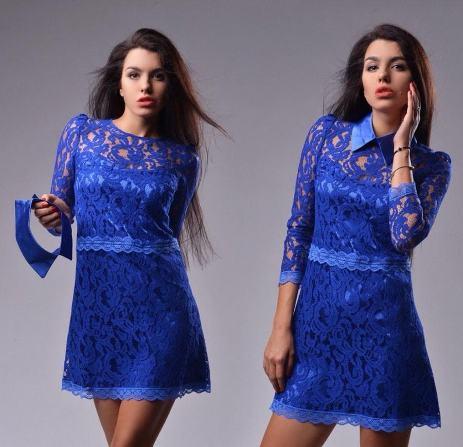 Свадьба - Guipure dress cobalt blue Bridal gown bridesmaid lace Short formal dress Cobalt blue prom Lace and satin dress.