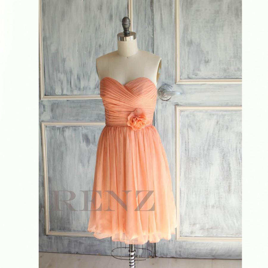 Свадьба - 2016 Tangerine Coral Bridesmaid dress, Strapless Pleated Formal dress, Rosette dress, Prom dress, Party dress Chiffon tea length (A017)-RENZ