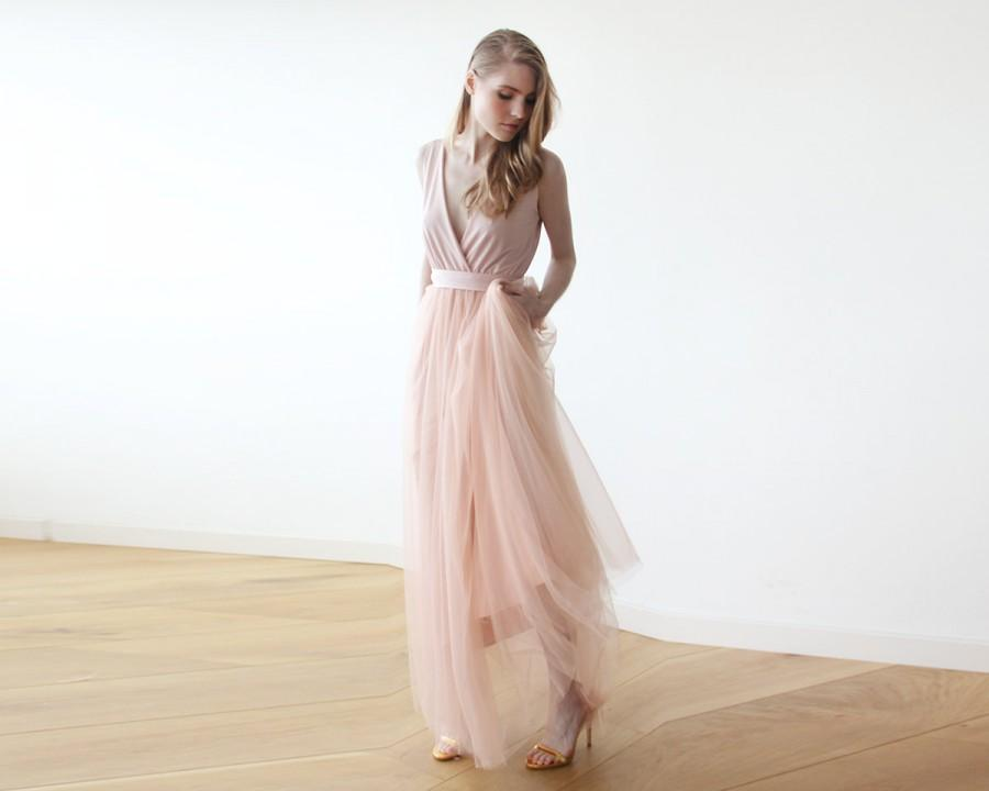 Maxi Pink Tulle Bridesmadis Gown Pink Tulle Fancy Maxi Dress