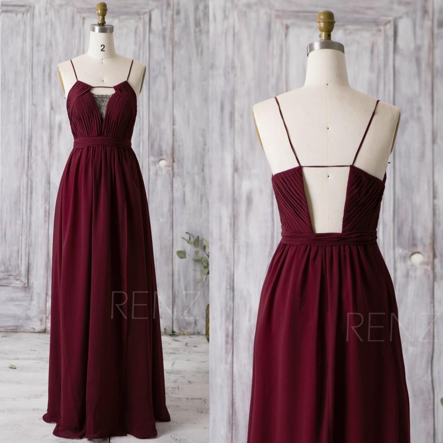 Hochzeit - 2016 Wine Long Chiffon Bridesmaid Dress Black Lace, V Neck Wedding Dress, Spaghetti Strap Prom Dress, Evening Gown Floor Length (Z057)