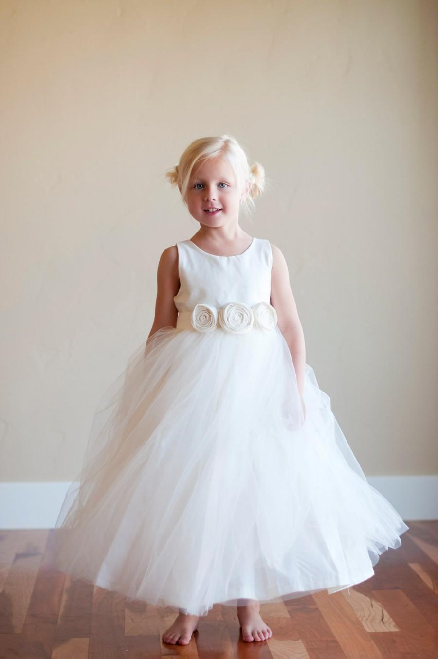 Свадьба - Flower girl dress, ivory flower girl dress, white flower girl dress, flower girl dresses