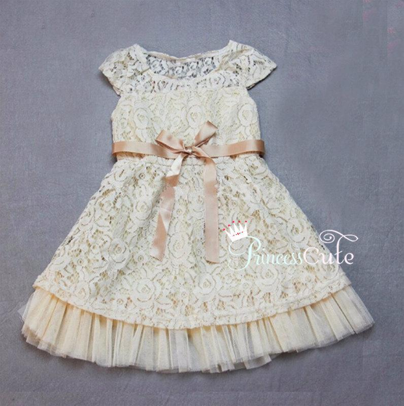 Vintage Inspired Flower Girl Dress Ivory Beige Flower Girls