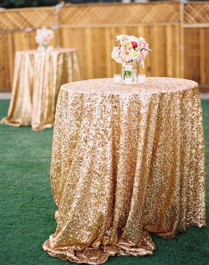 Ships Now Glitz Antique Gold Vintage Sequin Tablecloth Whole Sparkly Luxe Champagne Table Linens