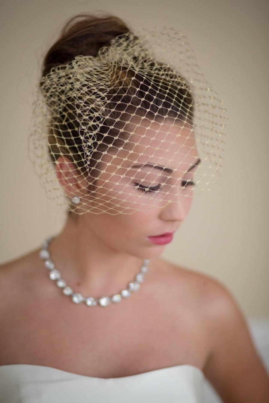 زفاف - Gold Metallic Small Birdcage Blusher Wedding Veil