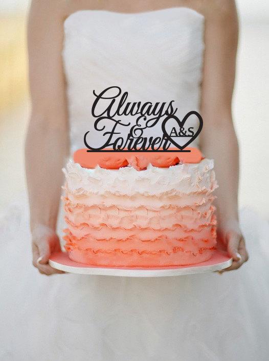 Wedding - Always & Forever Wedding Cake topper Monogram cake topper Acrylic Cake topper