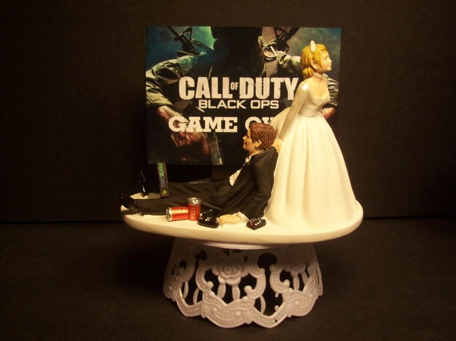Wedding - Video Game Call of Duty Black Ops Bride and Groom Funny Wedding Cake Topper