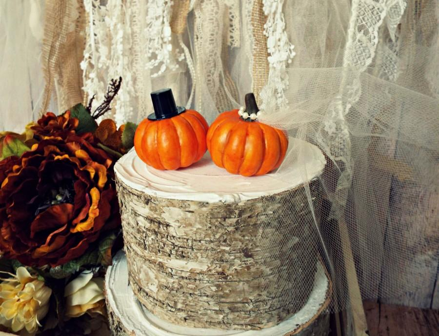Pumpkin Fall Wedding Cake Topper Themed Bride And Groom Thanksgiving Autumn Mr Mrs Country Barn Rustic Mini